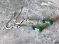 Natural Stripey Green Malachite Earrings With Sterling Silver Tubes | Silver Sensations